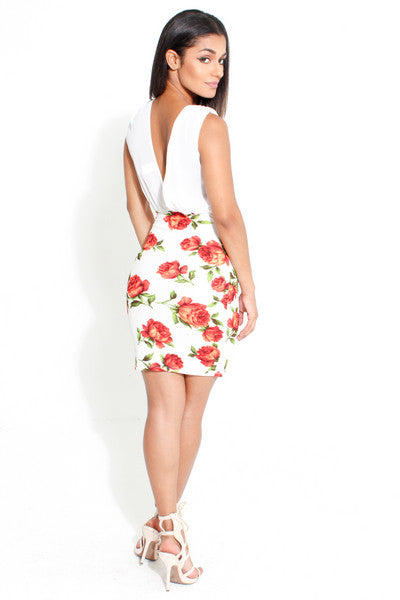 Summer Bloom Plunge Dress
