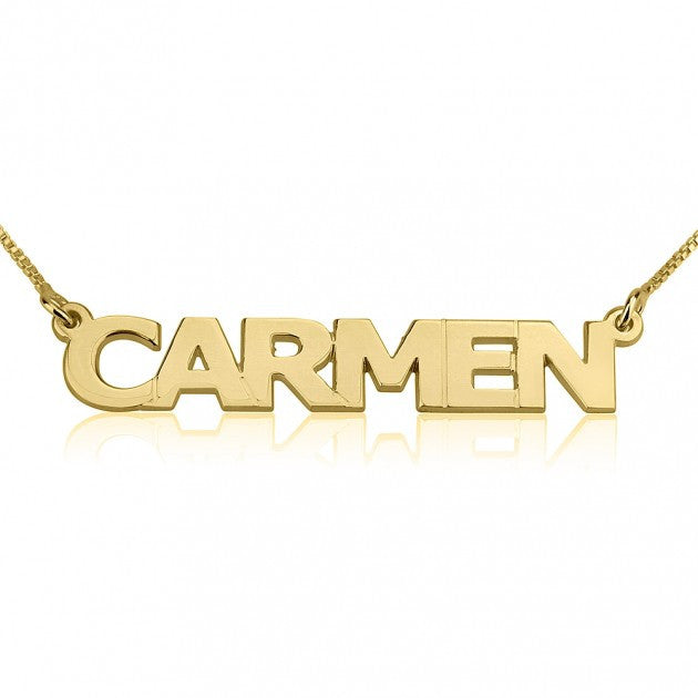14K Gold Block Style Name Necklace