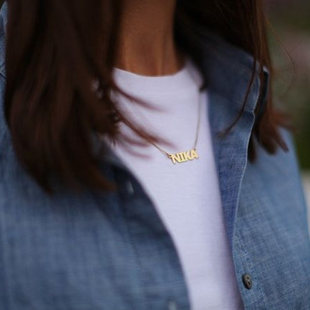Block Style Name Necklace - 24K Gold Plated