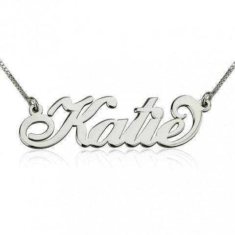 Block Style Name Necklace - Sterling Silver