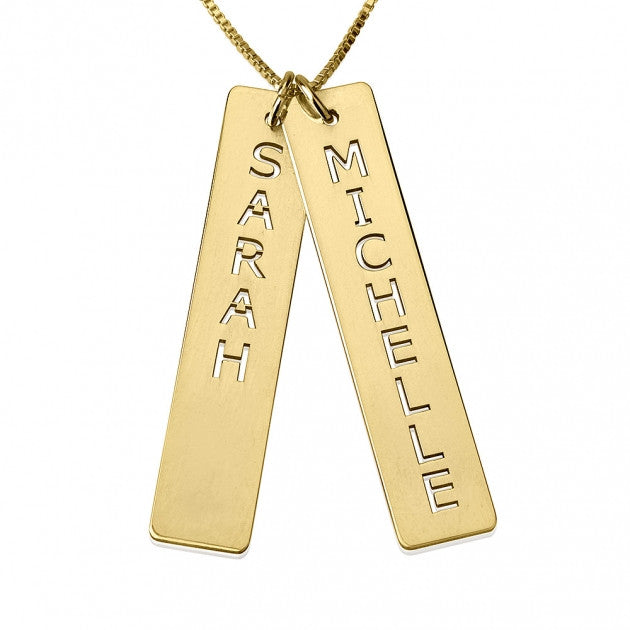 Engraved Bar Necklace - 24K Gold Plated