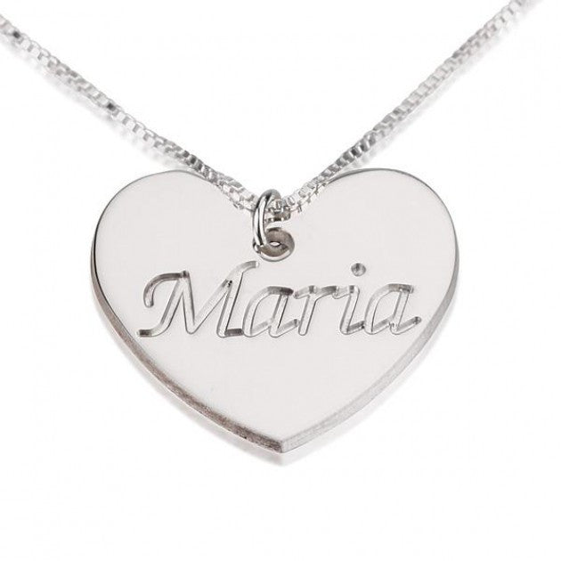 Engraved Heart Name Necklace - Sterling Silver