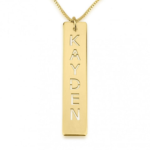 Heart Accent Name Necklace - 24K Gold Plated