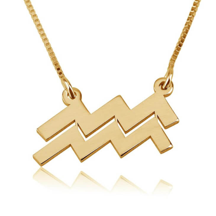 Aquarius Zodiac Necklace - 24K Gold Plated