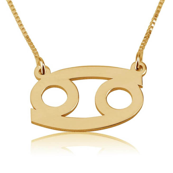 Cancer Zodiac Necklace - 24K Gold Plated