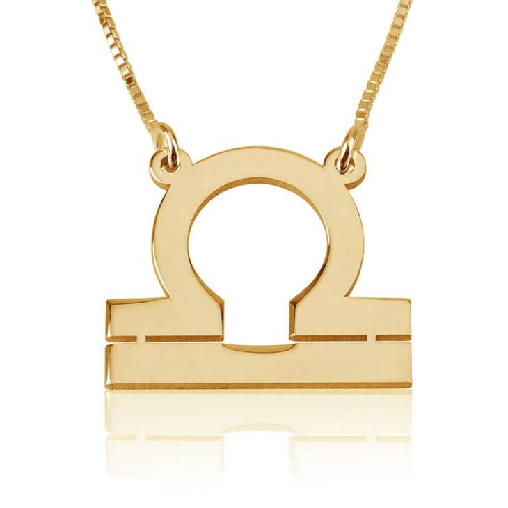 Libra Zodiac Necklace - 24K Gold Plated