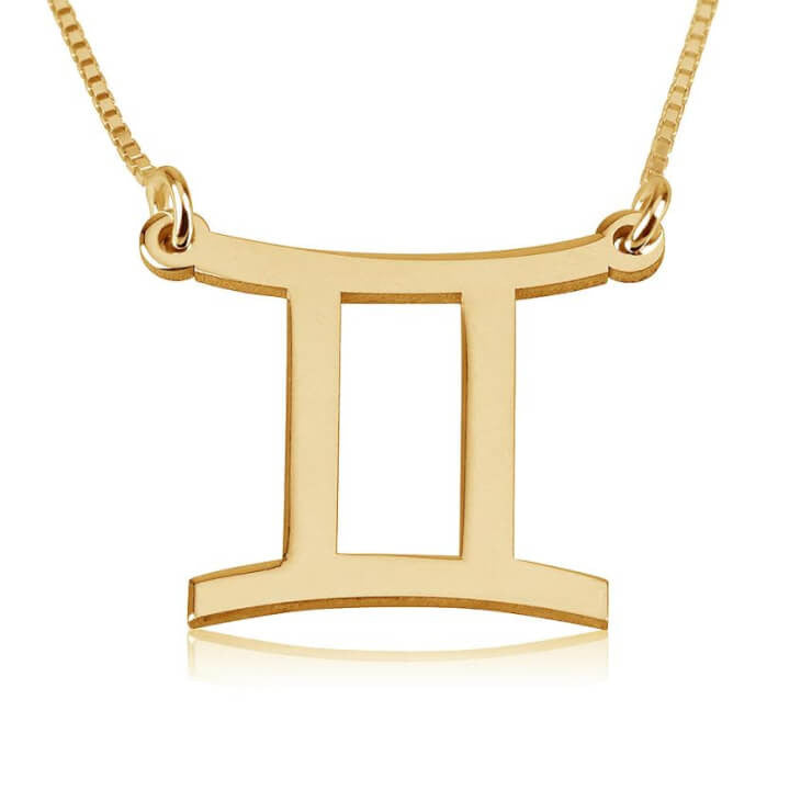 Gemini Zodiac Necklace - 24K Gold Plated