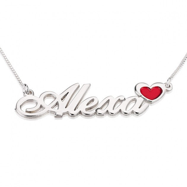 Heart Accent Name Necklace - Sterling Silver