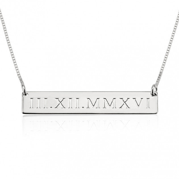 Roman Numeral Engraved Necklace - Sterling Silver