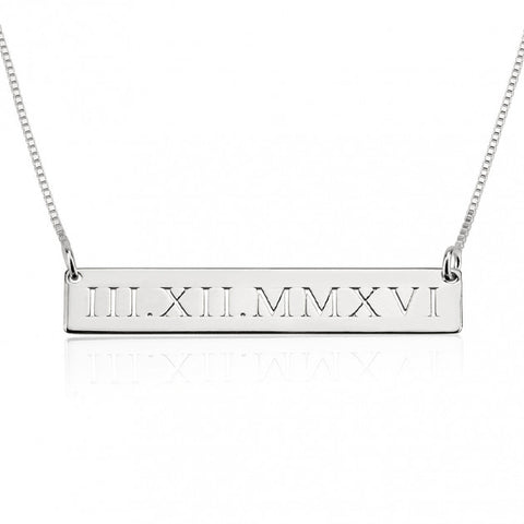 Engraved Bar Necklace - Sterling Silver