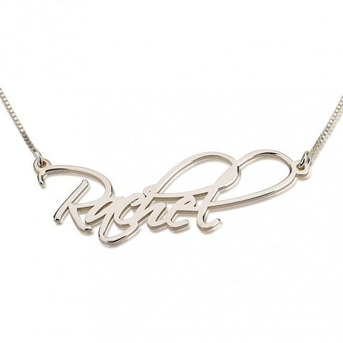 Open Hearts Two-Name Necklace - Sterling Silver