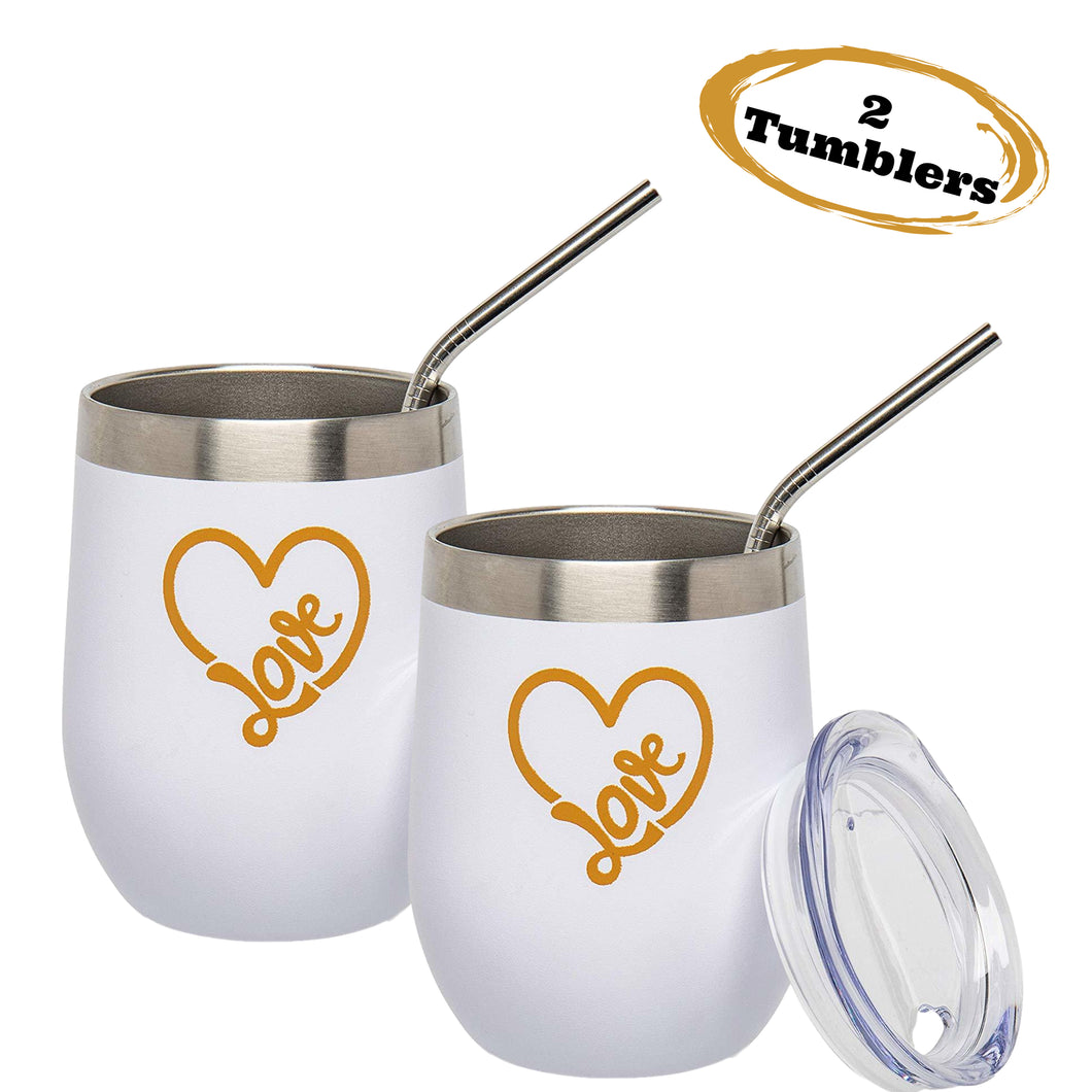 Love Tumblers - 2 Pack Heart Tumblers - Perfect for Valentine's Day
