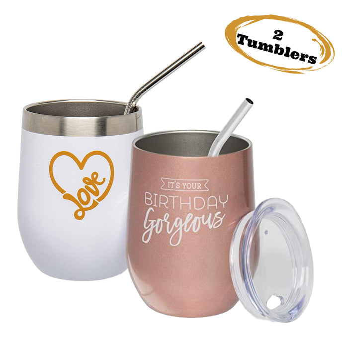 Birthday Wine Tumbler & Love Wine Tumbler 2 Pack - Insulated Stainless Steel Stemless Tumblers with Lid and Straw 12 oz.