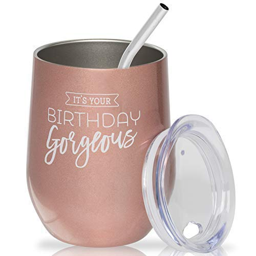 Happy Birthday Wine Glass - Insulated Stainless Steel Stemless Tumbler with Lid and Straw 12 oz.
