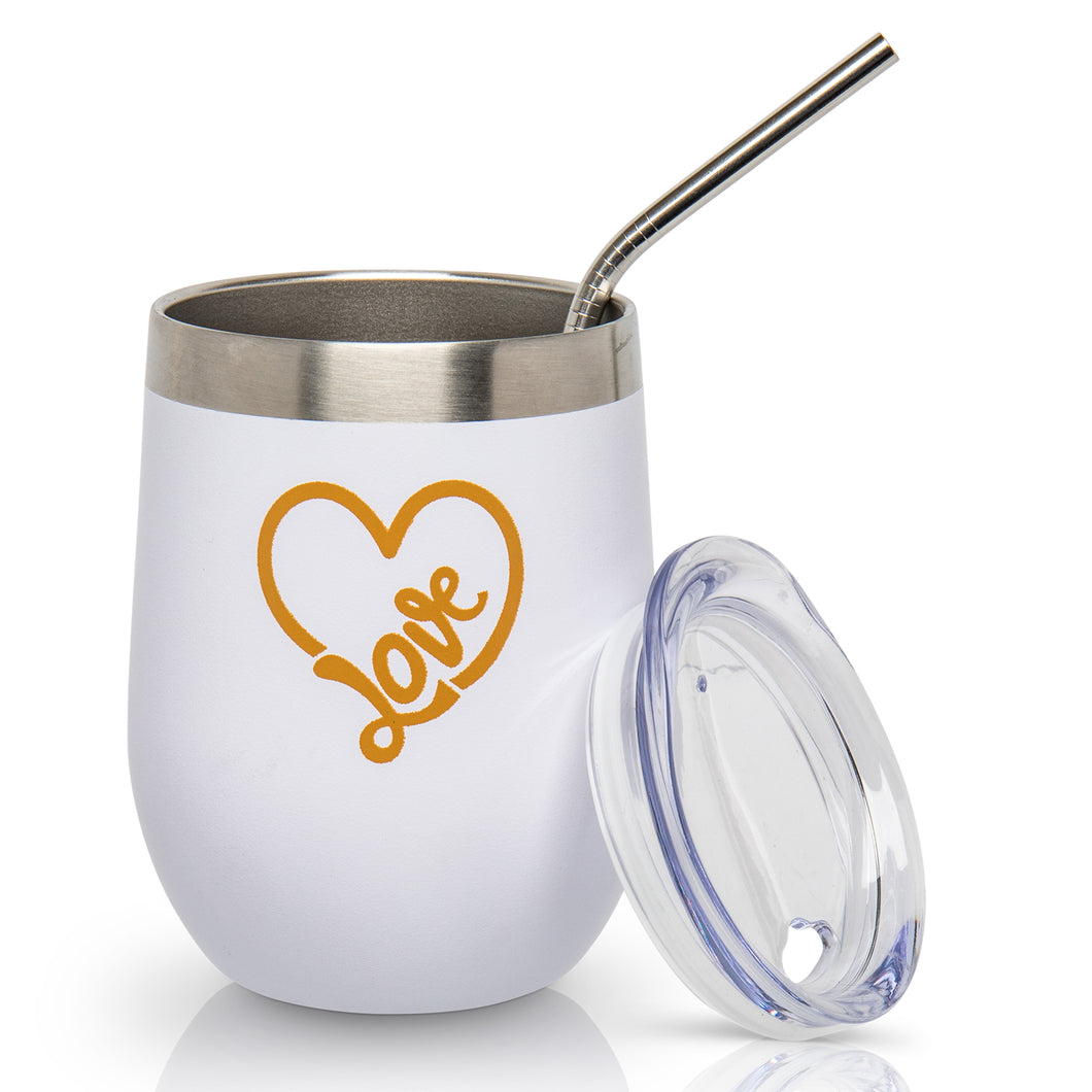 Love Wine Tumbler  Insulated - 12 oz. Stainless Steel Stemless Tumbler with Lid and Straw