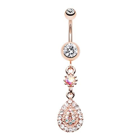 Belly Ring Teardrop Rose Gold