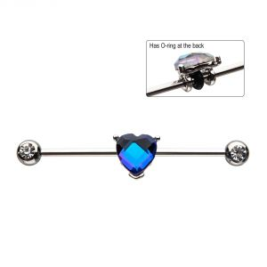"Barbell Industrial 14g 1 3/8"" Heart Gem"