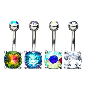 BELLY RING SQR GEM CLEAR