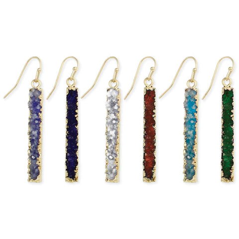 Earrings Druzy Rectangle