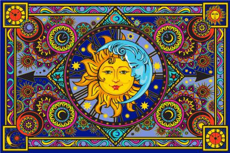 Tapestry Sun Moon Clock