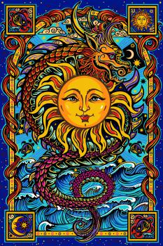 Tapestry Dragon Sun