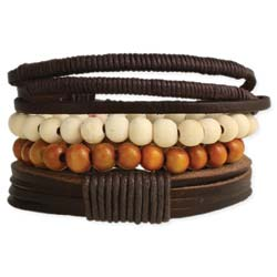 Bracelet Men's Leather and Beaded Set