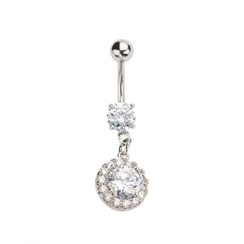 Belly Ring CZ Circle Dangle 14g