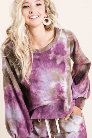 Junior Sweatshirt Tie Dye Purple Brown