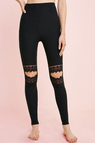 LEGGINGS LACE CUT OUT