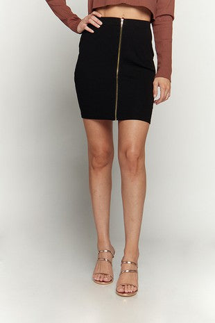 SKIRT MINI ZIPPER FRONT RIBBED