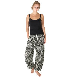 Pants - Elephant Pattern - Black