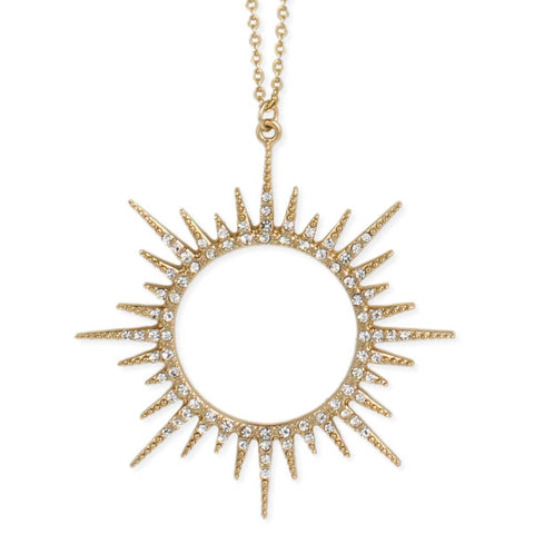 Necklace Sunburst Gold and Crystal