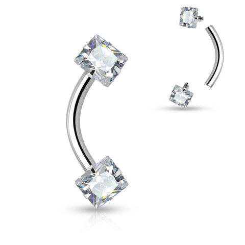 Eyebrow CZ Square Prong 16G