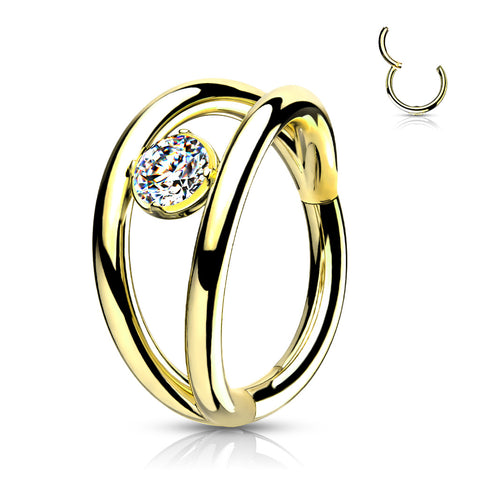 CARTILAGE DOUBLE HOOP 16G GOLD