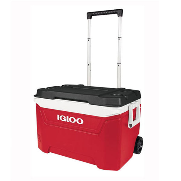 IGLOO 60QT WHEELED COOLER RED AND BLACK COVER 94CANS<br>ធុងទឹកកកពណ៌ក្រហមនិងខ្មៅ