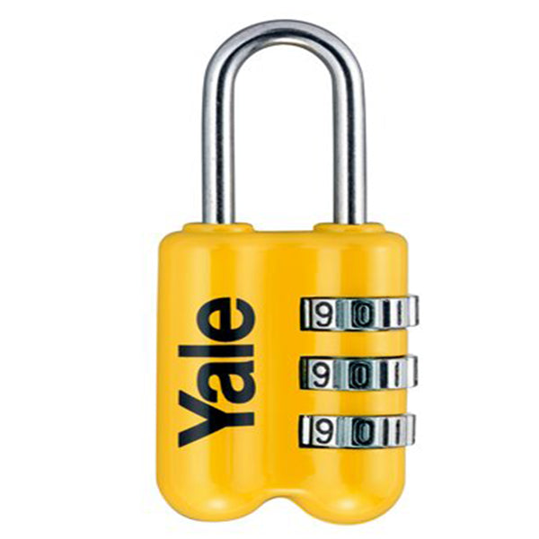 YALE YP2/23/128 RESETTABLE TRAVEL LUGGAGE PADLOCK YEL <br> សោរចាក់វ៉ាលី - Home-Fix Cambodia