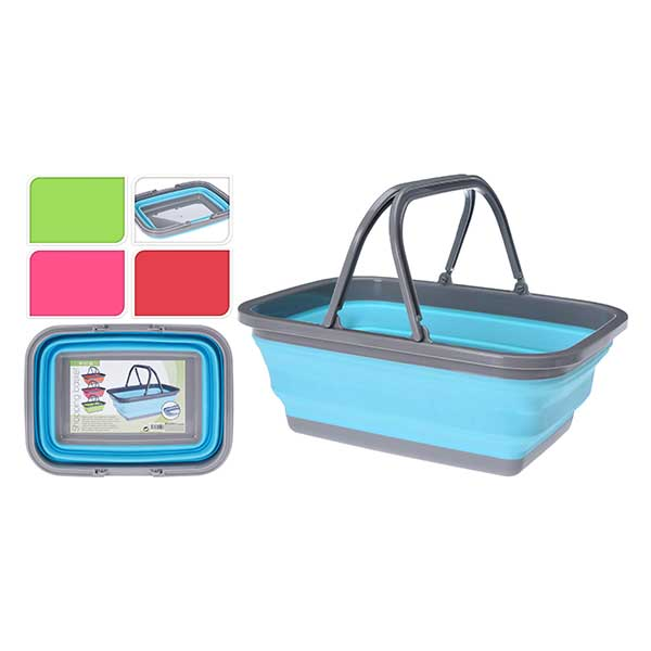 KOOPMAN 172000280 SHOPPING BASKET FOLDABLE BLUE<br>កន្រ្តកសម្រាប់ដើរផ្សារ - Home-Fix Cambodia