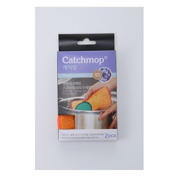 CATCHMOP 17058 RD SPONGE WITH SCOURING PAD 2PCS<br>អេប៉ុងសម្អាតសំភារៈ (មាន 2/កញ្ចប់) - Home-Fix Cambodia