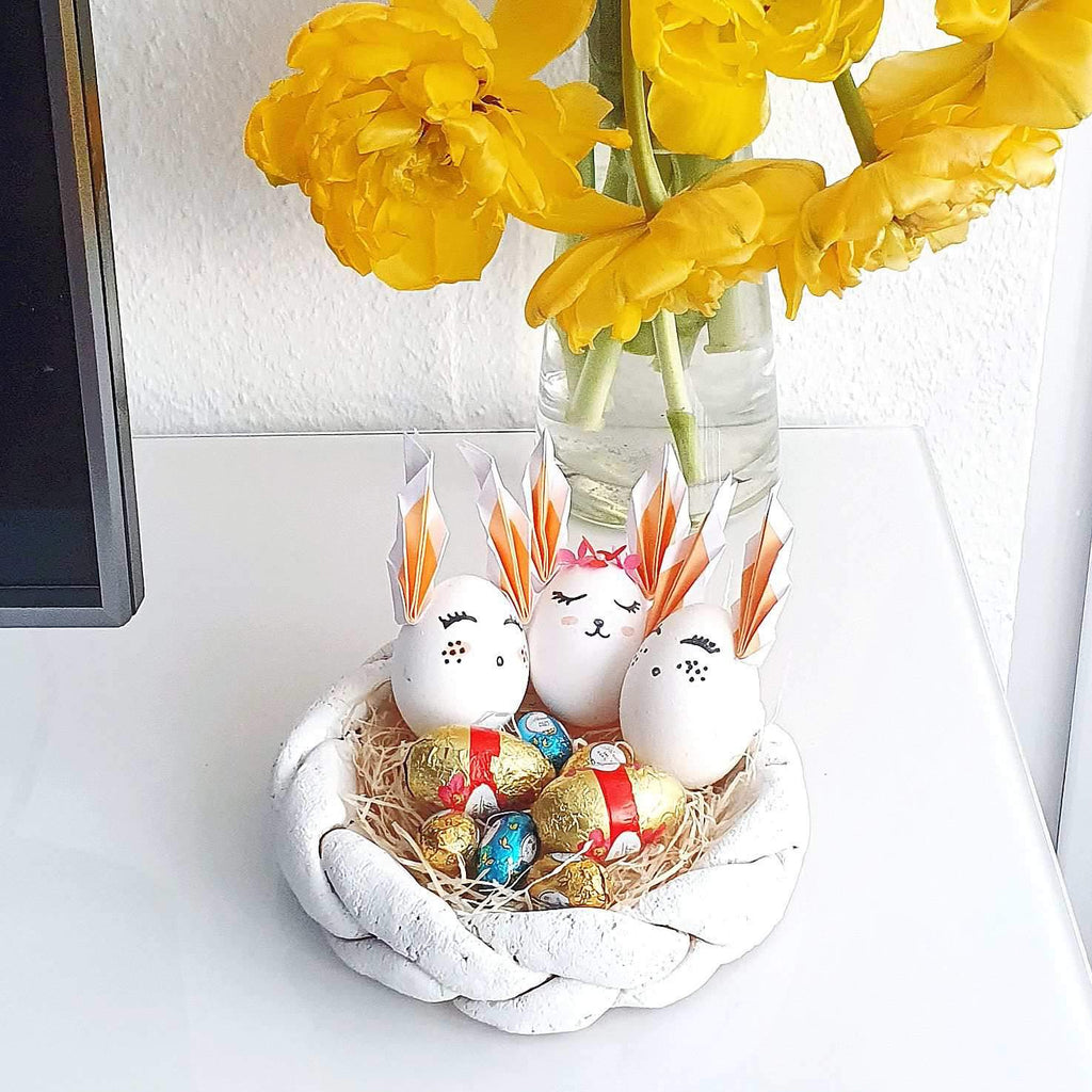 Easter basket made of salt dough & painted Easter eggs with ears - handicrafts with children Day 3 | Suzu Papers