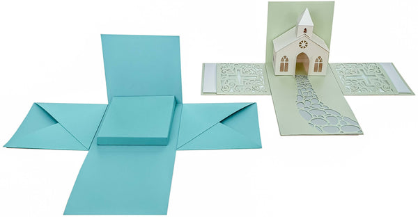 Make Explosion Boxes Yourself: Compare Baptism Box - DIY explosion boxes: Comparison of base area to baptism explosion box