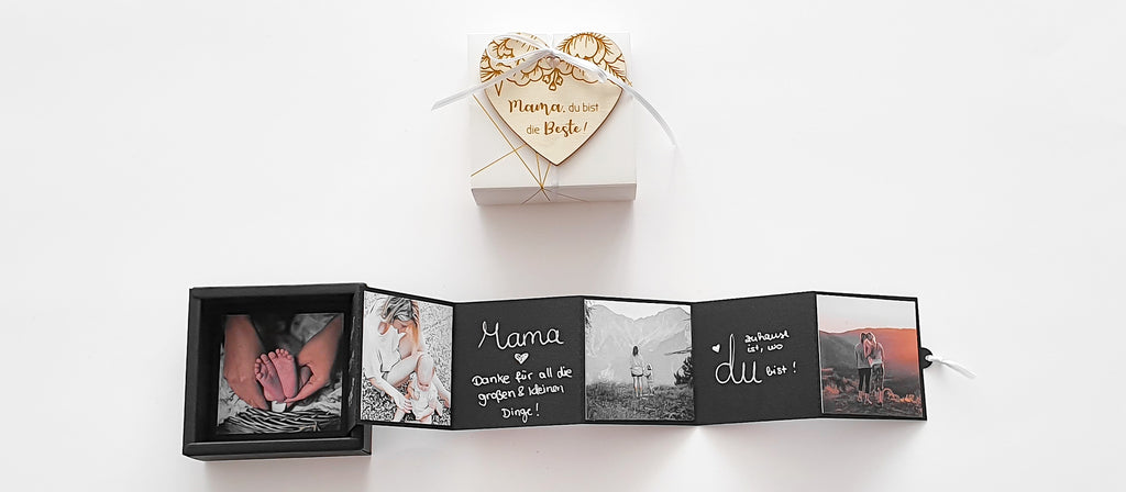 Gift box Mother's Day with photos and wooden heart - Suzu Papers