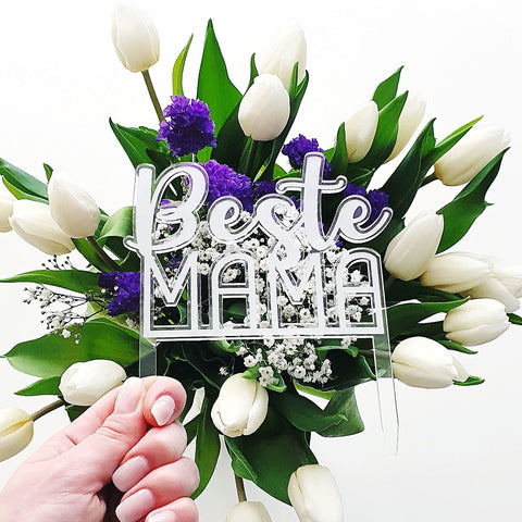 Cake topper made of acrylic - best mom - suzu papers