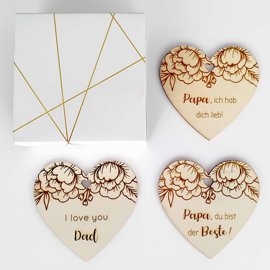 Suzu Papers wooden heart for birthday father dad three engravings