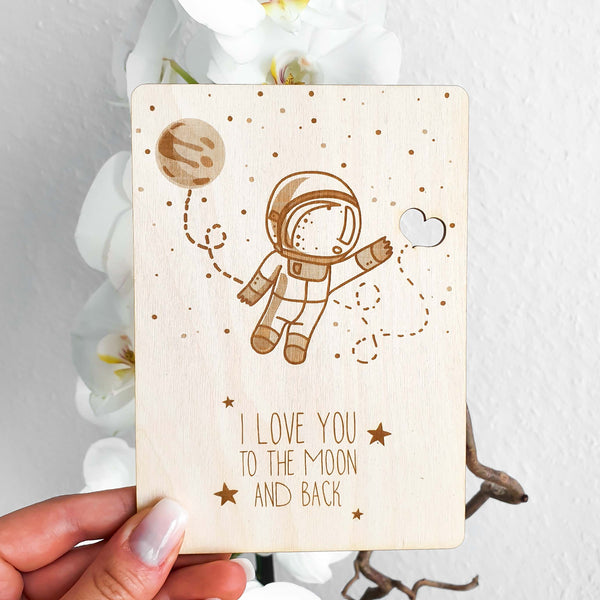 Suzu Papers - Wooden Card Love you to the moon and back
