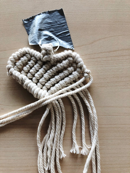 Suzu Papers - macrame heart charms - easy and simple to make yourself