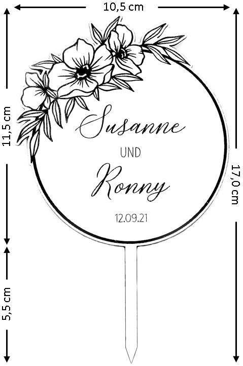 Suzu Papers Caketopper HOCHZEIT Personalisierbar Wedding Tortenstecker