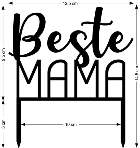 Sizing information Cake Topper Best Mama - Suzu Papers