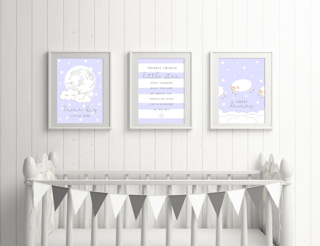 """SWEET DREAMS"" picture set for boys' baby room / children's room - 3 posters in blue - Suzu Papers"