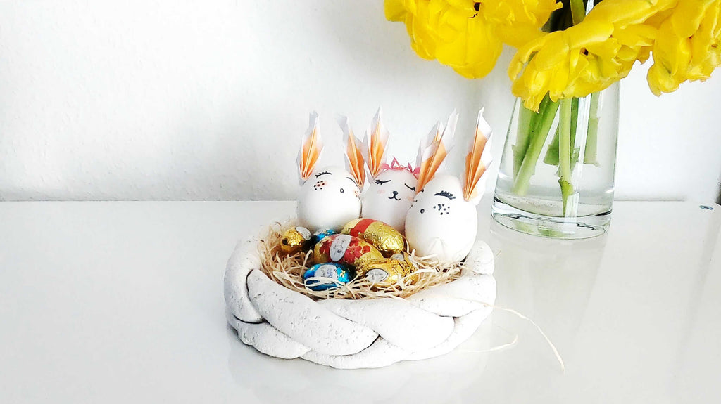 Easter basket made of salt dough and Easter eggs with ears - handicrafts with children - Suzu's handicraft lesson