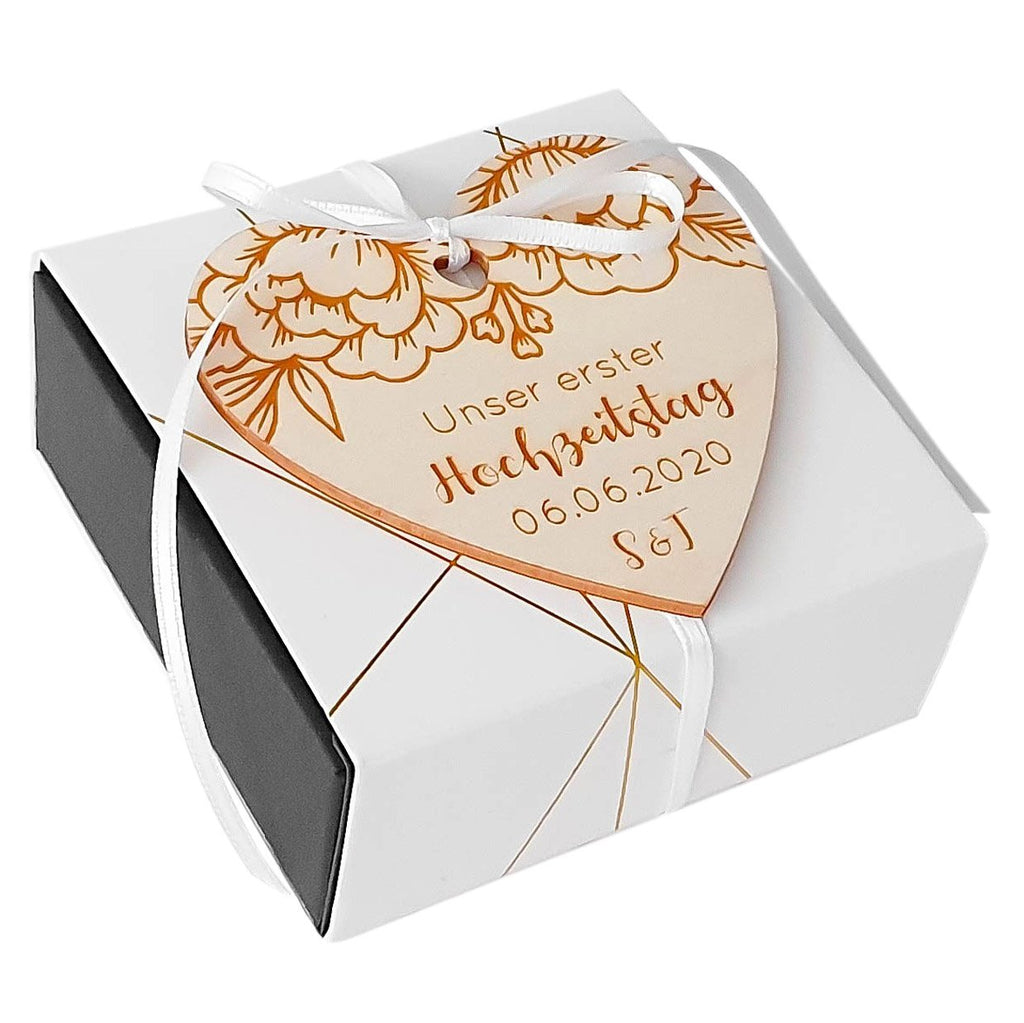 Customizable wooden heart WEDDING DAY - Suzu Papers